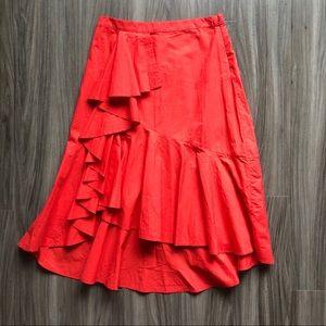 Joie Chesmu Ruffled Red Orange Skirt